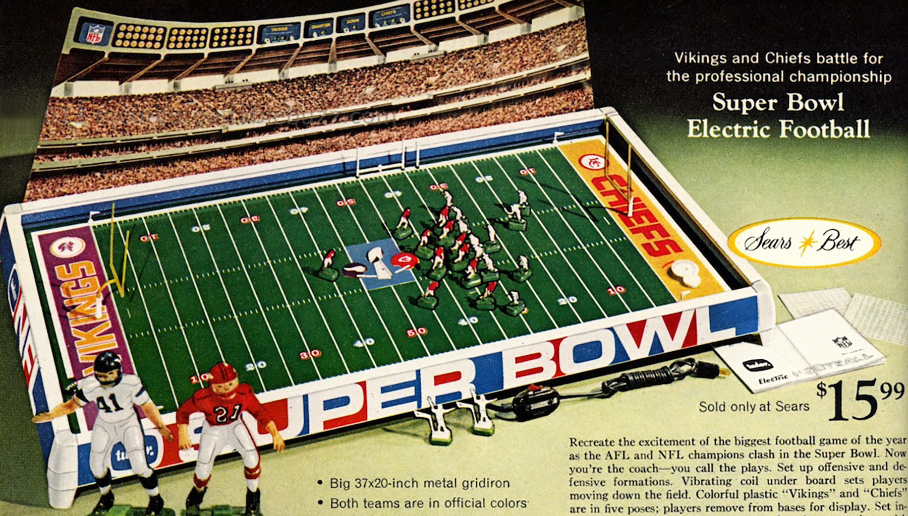 Sears Wishbook: Super Bowl Electric Football Game Model no 633